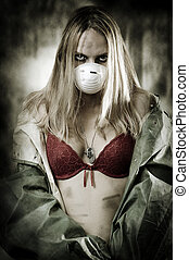 portrair, i, sørgelig kvinde, ind, åndedræt masker