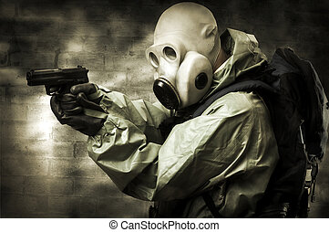 Portrair of person in gas mask