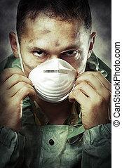 Portrair of Sad man in breathing mask - Post apocalypses...