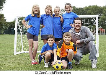 portrait, école, entraîneur, équipe foot