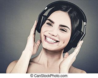portrait, écouteurs, entendre, femme, musique