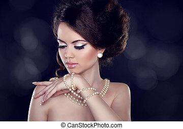 portrait, épaules, collier, charme, femme, beau, perle, bared