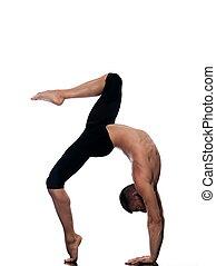 portrait, équilibre, acrobaties, gymnastique, homme