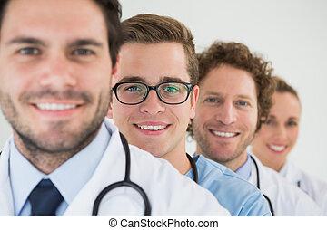 portrait, équipe, monde médical