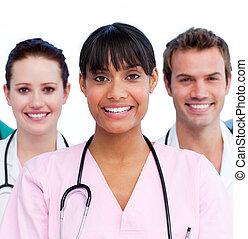 portrait, équipe soignant, elle, docteur