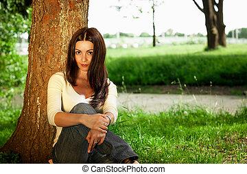 portrait, été, brunette, jardin, jeune
