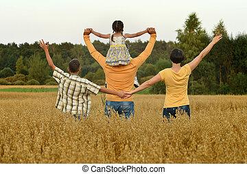 portrait, été, champ, heureux, marche, famille