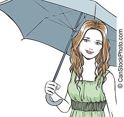 portrait, été, femme, parapluie, élégant