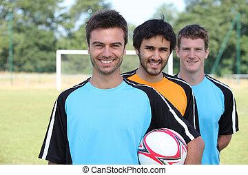 portrait, 3, joueurs football