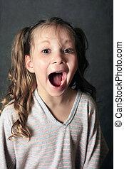 Portrait 5 years girls shouting in studio