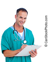 Portrait a charismatic male doctor writing notes against a...