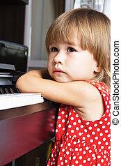 Portrait a happy little girl - Beautiful little girl resting...