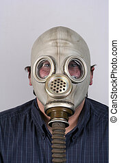 Portrait - A portrait of a man with an old gas-mask