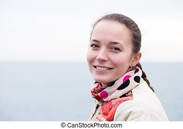 portrait a woman on pier