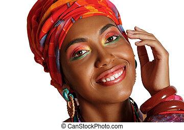 portrait, abrutissant, américain, noir, africaine