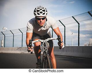 portrait, action, cycliste