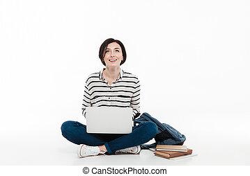 portrait, adolescent, sac à dos, girl, heureux