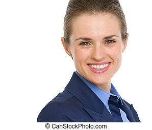 portrait, affaires femme, heureux