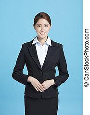 portrait affaires, femme souriant, asiatique