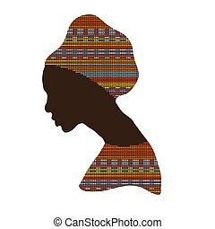 portrait african woman - Silhouette of a female head. ...