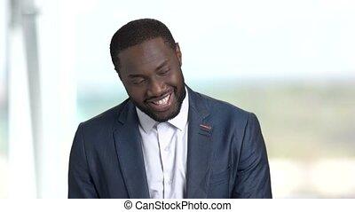 portrait, afro-américain, businessman., satisfait