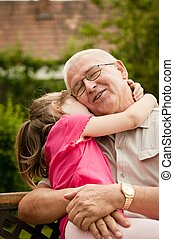 portrait, -, amour, petit-enfant, grand-père