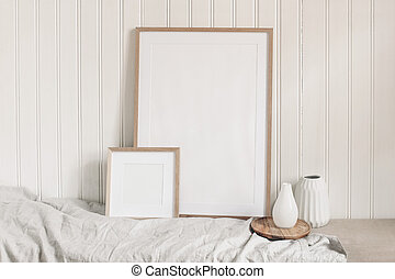 Portrait and square empty wooden frame mockups with linen ...