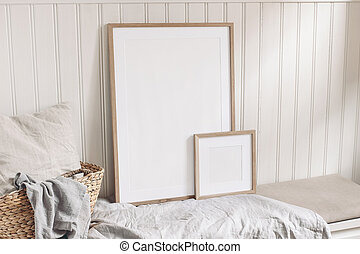 Portrait and square empty wooden frame mockups with straw ...