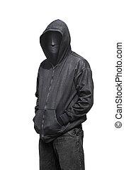 portrait, anonyme, homme, masque portant