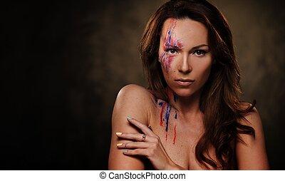 portrait, arrière-plan., coloré, maquillage, créatif, sombre, femme, beau