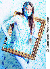 portrait - Art project: beautiful woman painted with many...