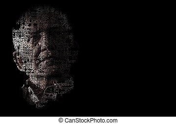 portrait, artistique, homme malheureux