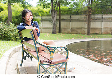 Portrait asian teen and smile