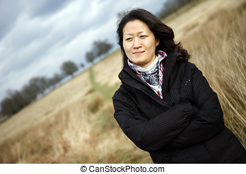 Portrait asian woman looking at camera