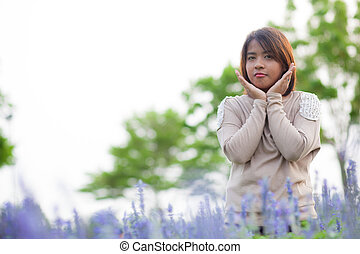 Portrait Asian woman standing.