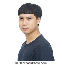 Portrait asian young man isolated on white background with clipping path