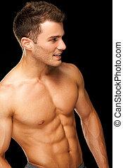 portrait, athlète, mâle, noir, musculaire