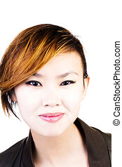 Portrait Attractive Asian American Woman Short Hair