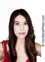 Portrait Attractive Hispanic Woman In Red Top