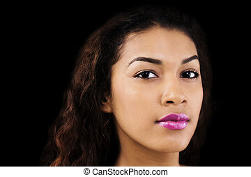 Portrait Attractive Hispanic Woman On Black Background