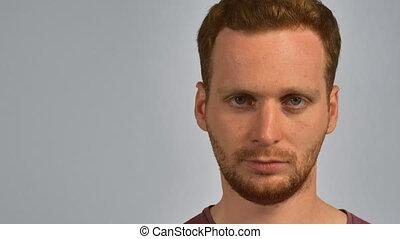 portrait attractive redhead male glasses - close up face...