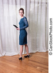Portrait attractive woman in blue dress