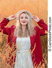 portrait, automne, blond, jeune femme