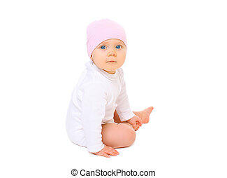 Portrait baby in hat sitting on a white background