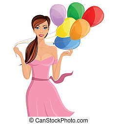 portrait, balloon, femme