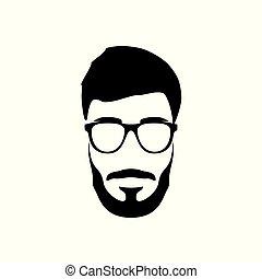 portrait, barbu, hipster, style., man.