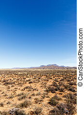 Portrait - Barren field with mountains and blue sky