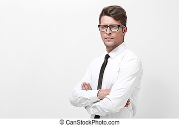 portrait, beau, jeune, businessman.