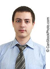 portrait, beau, jeune homme