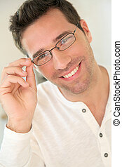 portrait, beau, lunettes, homme